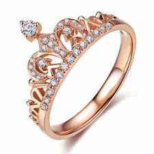 New Arrival Gold Color Round Cubic Zircon Fashion Crown Rings For Women