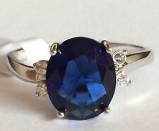 Silver Simulated Sapphire Cocktail Ring Plated Blue Cubic Zirconia Size 11 USA