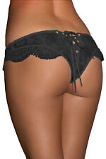 SEXY LUXURY BLACK LACE-UP LOOK FINE DETAIL PANTYS-Choose Size 8-10-12