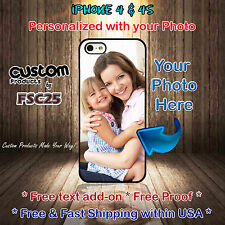 Custom Phone case personalize with your photo selfie art for iPhone 4 & 4s gift