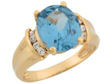 10k or 14k Yellow Gold Simulated Blue Zircon White CZ Side Stone Ladies Ring