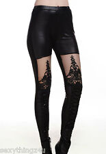 GOTHIK LACE DETAILED LEATHER LOOK LEGGINGS Choose From Sizes 8-10-12