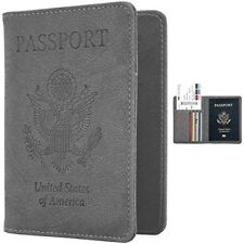 Travel Passport Case Credit ID Card Holder PU Leather Wallet Case Cover Grey NEW