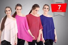 New Womens Ladies Plain Chiffon Kimono Top Off Shoulder Baggy Flare Summer Top