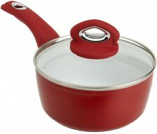 Sauce Pan Pot Nonstick Cookware Kitchen Lid Cooking Food Ceramic Organizer Red