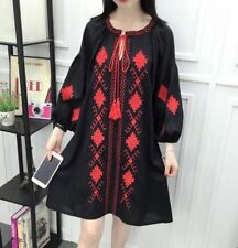 Women Black Red Color Floral Embroidery Bow Long Sleeve Above Knee Party Dress