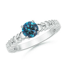 14K White Gold Round Enhanced Blue Diamond Ring with Heart Carving