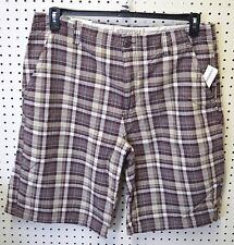 NEW Aeropostale AERO Shorts MEN SZ 38 40 Mens PLAID Flat FRONT Maroon Blue Gray