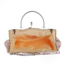 Women 3 Color Sequined Beaded Decoration Wedding Party Clutch With Chain