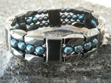 Men Women 100% Magnetic Hematite Bracelet Anklet Necklace Pearlized Teal 3 row