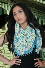 Printed Cotton Scarf Boho Scarf Head Scarf for Women Pompom Scarf Gift for Her