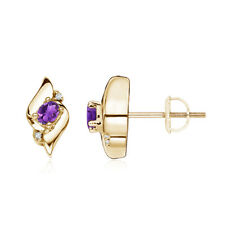 Natural Oval Amethyst and Diamond Shell Stud Earrings Silver/ 14K Yellow Gold