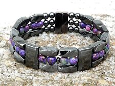 Mens Womans 100% Magnetic Hematite Bracelet Anklet Necklace Picasso Purple 3 row