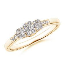 Diamond Triple Cluster Ring with Accents 14K Yellow Gold/ Silver Size 3-13