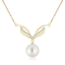 10 MM South Sea Cultured Pearl Pendant Necklace with Diamonds 14K Yellow Gold