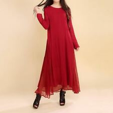 Women Red Color Vintage Style Long Sleeve Two Piece O Neck Maxi Dress Z31