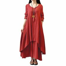 New Fashion Long Sleeve Cotton Material V Neck Causal Long Dress for Women