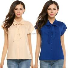 Women Casual Short Sleeve Bow Tie Neck Cap Sleeve Solid Loose Chiffon EO56 01