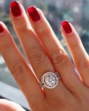 Created Diamond Engagement Real Authentic Sterling Silver Stamped 925 3 Ring Set