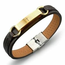 Fashion Cross Pattern Pu Leather Material Stainless Steel Bracelet for Men
