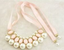 Vintage Style Ribbon Bead Decorated Rhinestone Material Necklace for Women