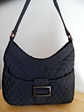 VERA BRADLEY Buckle Hobo Black Microfiber Quilted Purse Shoulder Bag, Excellent