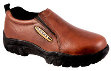 Roper Womens Performance Brown Tumbled Leather Sport Comfort Slip On Shoes