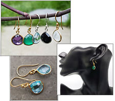 925 Sterling Silver 18K Gold Vermeil Faceted Gemstone Drop Dangle Earrings Gift