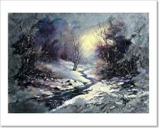 Landscape With Winter Wood Small River Art Print Home Decor Wall Art - 3