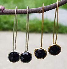 Sterling Silver 18K Gold Vermeil Wire Faceted Black Onyx Oval Dangle Earrings