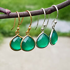 Sterling Silver 18K Gold Vermeil Faceted Green Onyx  Drop Dangle Earrings Gift