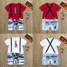 Handsome Toddler Baby Boys Tie Overalls Jeans Print Short Sleeve Romper Jumpsuit