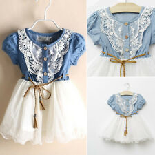 Summer Kid Baby Girl Denim Floral Lace Tulle Party Prom Dress Short Sleeve Dress