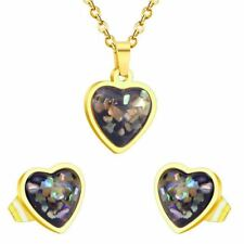 Women Fashion Gold Plating Stainless Steel Style Crystal Pendant  Earrings Jewel