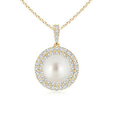 South Sea Cultured Pearl Diamond Double Halo Pendant Necklace Yellow Gold