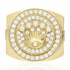 10k Yellow Gold 1.50Ct Created Diamond Crown Signet Ring Size 8, 9, 10, 11 & 12