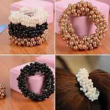 Girls Solid Rope Ponytail Holder Faux Pearl Beads Elastic Hair Band Korean Style