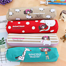 Girl Pencil Case Canvas Pouch Stationery School Supply Makeup Case Cosmetic Bag