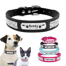 Crystal Personalized Dog Collar Custom Suede Leather Cat Name Collar Engraved