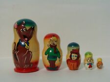 New Hand Painted Russian Nesting Doll Scooby Doo 5 Piece Made In Russia