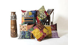 INDIAN CUSHION COVER PILLOW CASE KANTHA WORK FLORAL ETHNIC THROW PATCHWORK THROW