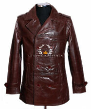 Harrison Men's Brown Smart Casual Double Breasted Real Cowhide Leather Jacket