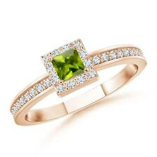 Square Natural Peridot Diamond Halo Stackable Ring Gold Size 3-13