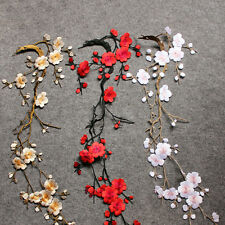 Cute Embroidered Plum Blossom Flower Patch Iron/Sew on Applique Motif Craft
