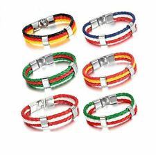 Russia World Cup Football Soccer National Flag Leather Bracelet Wristband 2PCS