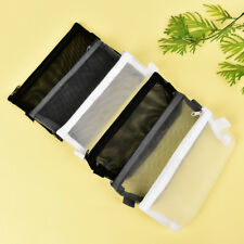 Clear Exam Pencil Case S/L Transparent Simple Mesh Zipper Stationery Bag Case