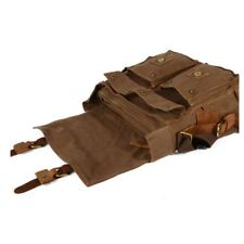 Mens Vintage Style Canvas Leather Satchel School Military Shoulder Messenger Bag