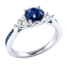 Handmade Jewelry 925 Silver Plated Sapphire Stone Ladies' Ring US Size 7-10