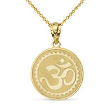 Solid 14k Yellow Gold Hindu Spiritual Symbol Om Yoga Disc Pendant Necklace