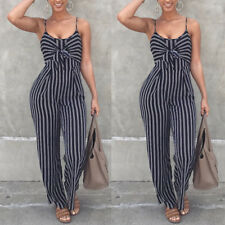 Casual Womens Clubwear Strappy Striped Playsuit Bandage Bodysuit Party Jumpsuit